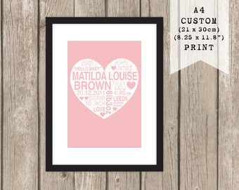 A4 CUSTOM Baby Heart Print
