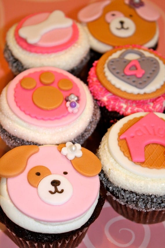 PUPPY DOG LOVER -  Fondant Cupcake, and Cookie Toppers - 1 Dozen