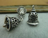 3PCS filigree bell charm pendant antique silver/ antique bronzed 12x16mm wholesale jewelry findings