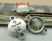 50PCS antique silver 8mm cross round bezel cabochon mountings with 2 holes- XC5979