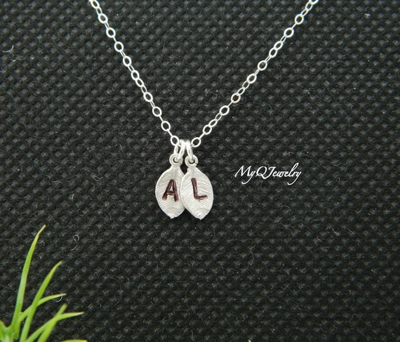 two initial leave necklace monogram charm necklace family