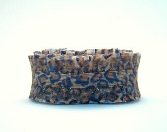 destash - wavy edge cheetah ribbon - 1 inch wide - 3 feet