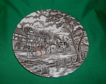 """One (1), 9 7/8"""" Dinner Plate, from Myott Staffordshire, in the Royal Mail Brown (white background) Pattern."""