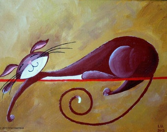 "Original Cat Acrylic Painting for Sale ""Serene Cat in Burgundy"""