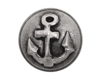 3 Anchor 7/8 inch ( 23 mm ) Metal Buttons Silver Color