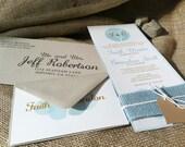 Rustic Wedding Invitations - Moonlit Tree Collection - Aqua - Mint - Ivory - Metallic Gold - Burlap - Heart - Hemp Twine - Eco Friendly
