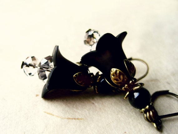 Black Lily Flower Earrings. Handmade Beaded Lucite Floral Earrings with Diamond Crystals & Antique Bronze. Black Wedding Party Jewelry.