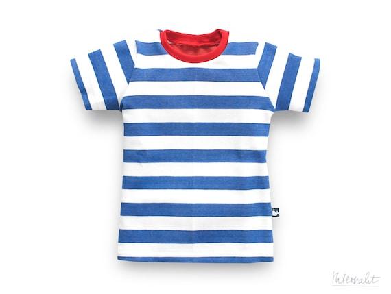 toddler boy t shirt blue white striped made of 100 organic cotton. Black Bedroom Furniture Sets. Home Design Ideas