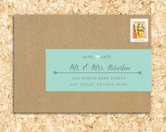 25 Personalized Wraparound Mailing Address Labels - Rustic - Country Wedding, Cursive, Seal, Arrows, Formal, Monogram, Ribbon Labels