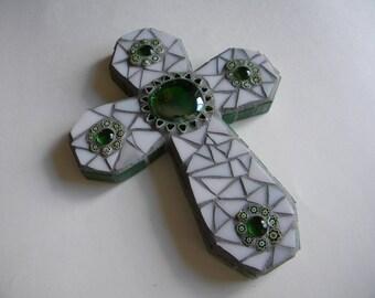 Green and White Mosaic Cross