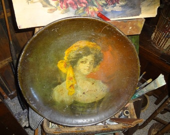Gorgeous hand painted Huge Tin GYPSY lady tin plate...Measures 17.5 inches in diameter..RARE