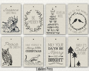 Printable Christmas Tags - Rustic Christmas Tags - Woodland Tags - Instant Download