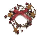 Primitive Burgundy Rusty Star Pip Berry Wreath Home Decor