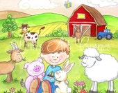 Boy with Animals at the Farm, Print of Original Watercolor