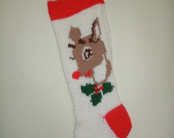 Hand-Knitted Personalized Rudolph Christmas Stocking