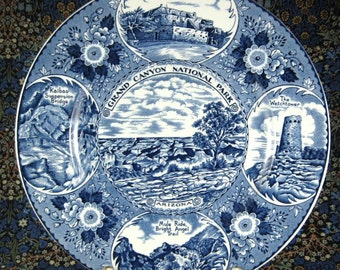 Vintage Blue Transferware Plate 1940s Grand Canyon Myott England Watchtower Bright Angel