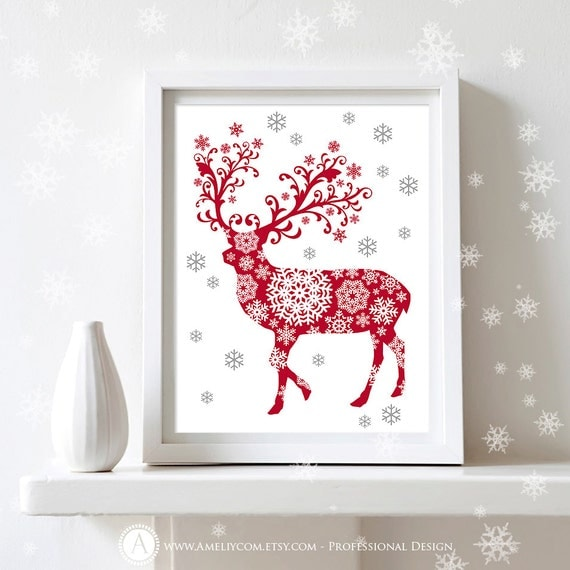 "Printable Christmas Decor Poster Print  - Deer Silhouette Art Print  -  Wall Art  Christmas Decoration - 8,5"" x 11"" Digital INSTANT DOWNLOAD"