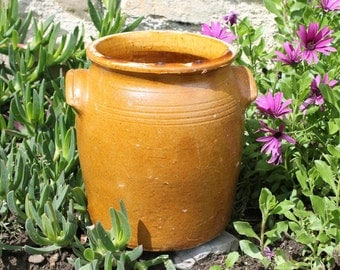 Antique  Pottery Ceramic  French Confit Pot  mustard and interior yellow Glaze,