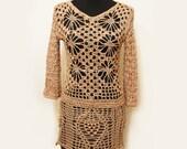RESERVED FOR LISA - Crochet beach dress. mini dress. summer dress. sundress. bohemian dress. tan cotton. pineapple. diamond. final payment