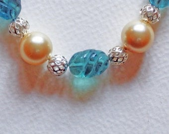 Fluorite and Swarovski Pearl Necklace