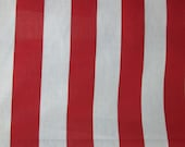 "Poly Cotton Print XL 2 Inch Stripes Red and White 60"" Fabric by the Yard - 1 Yard"