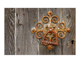 Fancy Old Latch Photo, Rusty Gate, Curlicues, Cottage Decor, Country Chic, English Countryside