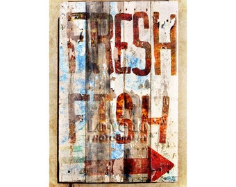 Fish Sign Photo, Fresh Fish, Rustic Decor, Cabin Decor, Kitchen Art, Red, Blue, Arrow, Hand Painted Sign, Gift for Cook