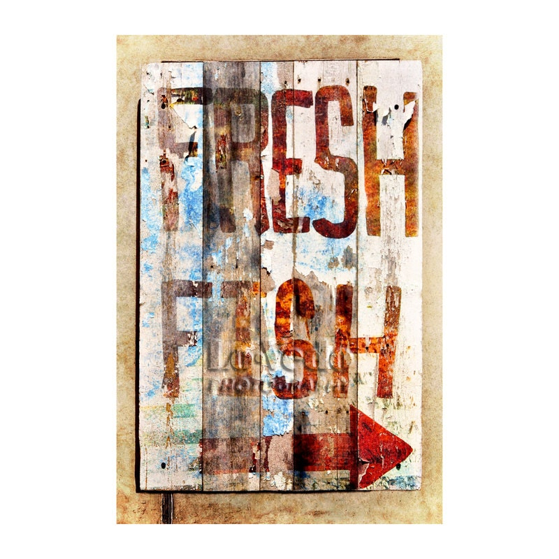Fish Sign Photo Fresh Fish Rustic Decor Cabin Decor
