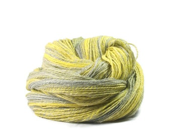 Handspun Yarn Merino Silk Flax Yellow and Grey 486m