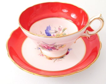 English Hammersley Bone China Tea Cup and Saucer Tea Party Cottage Style - c. 1939 - 1950s