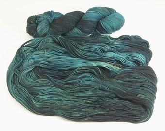 Yarn Hand Dyed  Wool Superwash Blue Green Dark Muted 2409