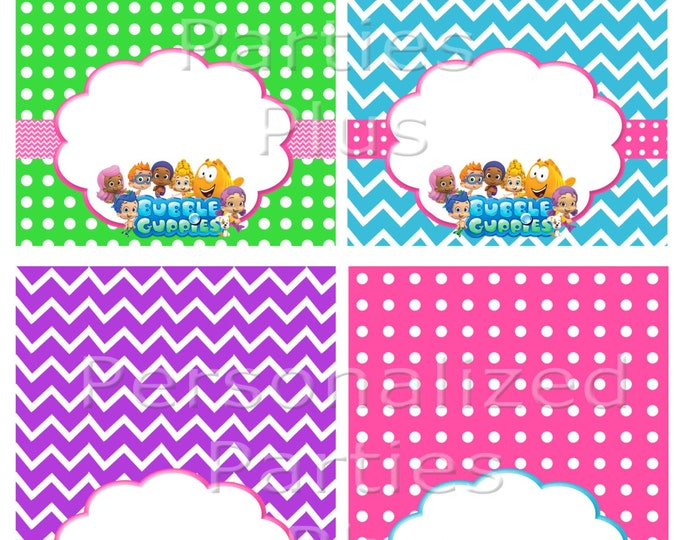 Bubble Guppies food tents for Birthday Party: Instant Download