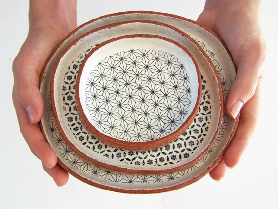 Three Tapas Plates - Ceramic Plate Set- Geometric Plates - Pottery Plates