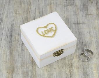 White Gold Ring Bearer Box , Love Wedding Ring Box, Pillow Alternative, Distressed Wooden ring Box wedding, gold heart, ring bearer pillow