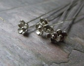 1 Pair - Shinny Flower 925 Sterling Silver Handmade Headpins - MADE TO ORDER