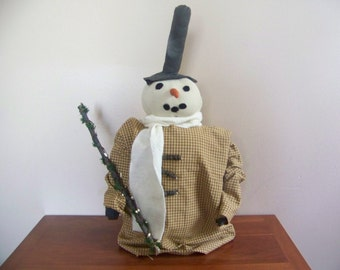 Primitive OOAK Standing Snowman Folk Art Holiday Winter Decor