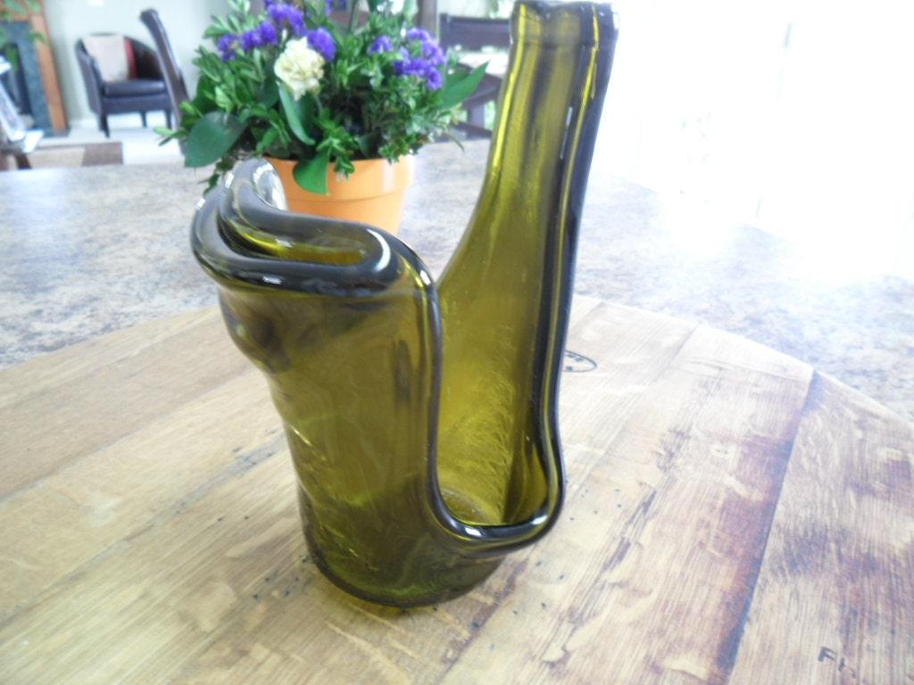 Melted Wine Bottle Candle Holder