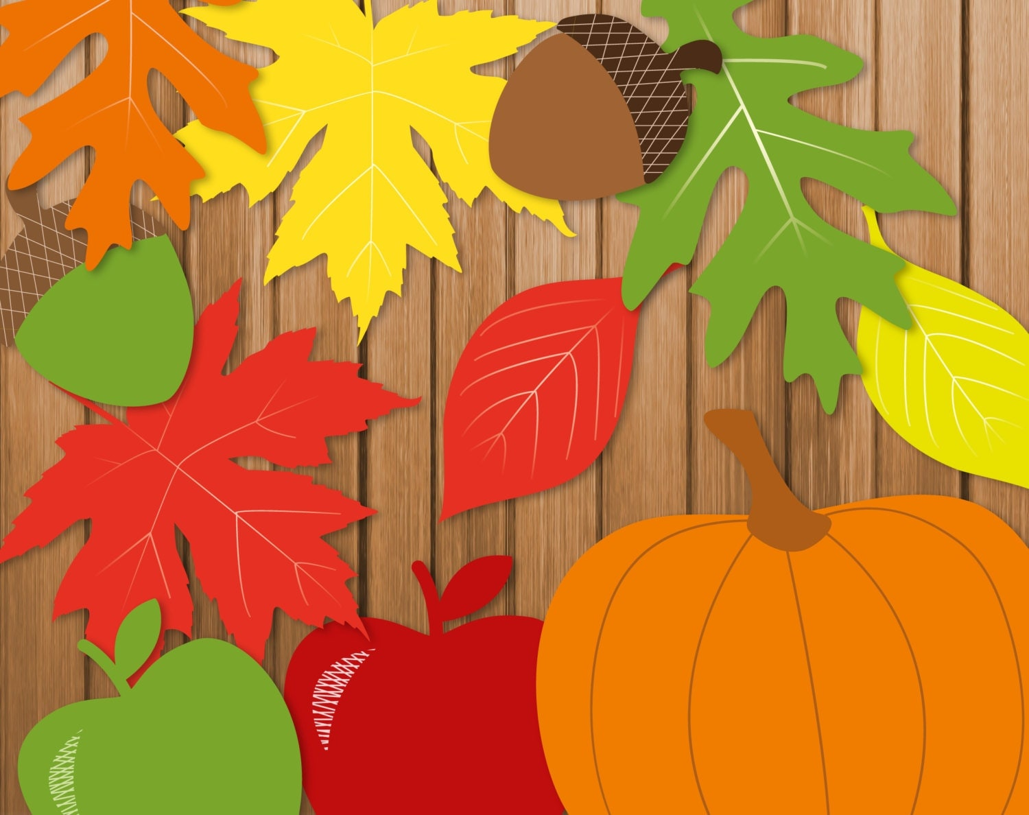 Fall autumn printable party banner garland by thumbalinalane for Decoration leaves