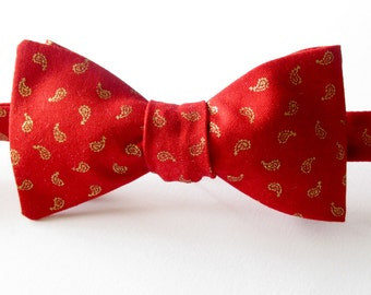 Bowtie  -  Red with gold paisley design - self tie / freestyle