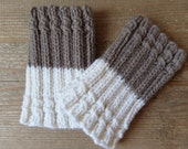 Knitted 2 ways to wear  Boot Cuffs   Leg Warmers   White with Taupe  Knit Boot Cuffs  Boot Toppers