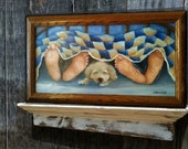 "Dog Under Covers, ""Twenty Toes and One Wet Nose"", Original oil painting by Linda Maravich, 12 x 24 frame included, dog lover art"