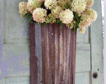 Large Handmade Rustic Cottage Recycled Barn Tin Flower Wall Pocket Upcycled Garden Style