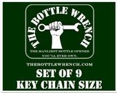 SET OF 9 Key Chain Sized - The Bottle Wrench Bottle Opener
