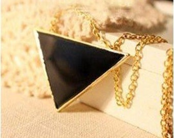 Triangle Pendant Long Vintage Style Necklace