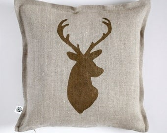 Deer pillow - decorative pillow case - deer throw pillows collection - linen pillow cover - custom size - 0420