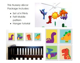 Dinosaur Nursery Decor Package: includes felt baby mobile pattern and set of four 8x10 printable dinosaur artworks.