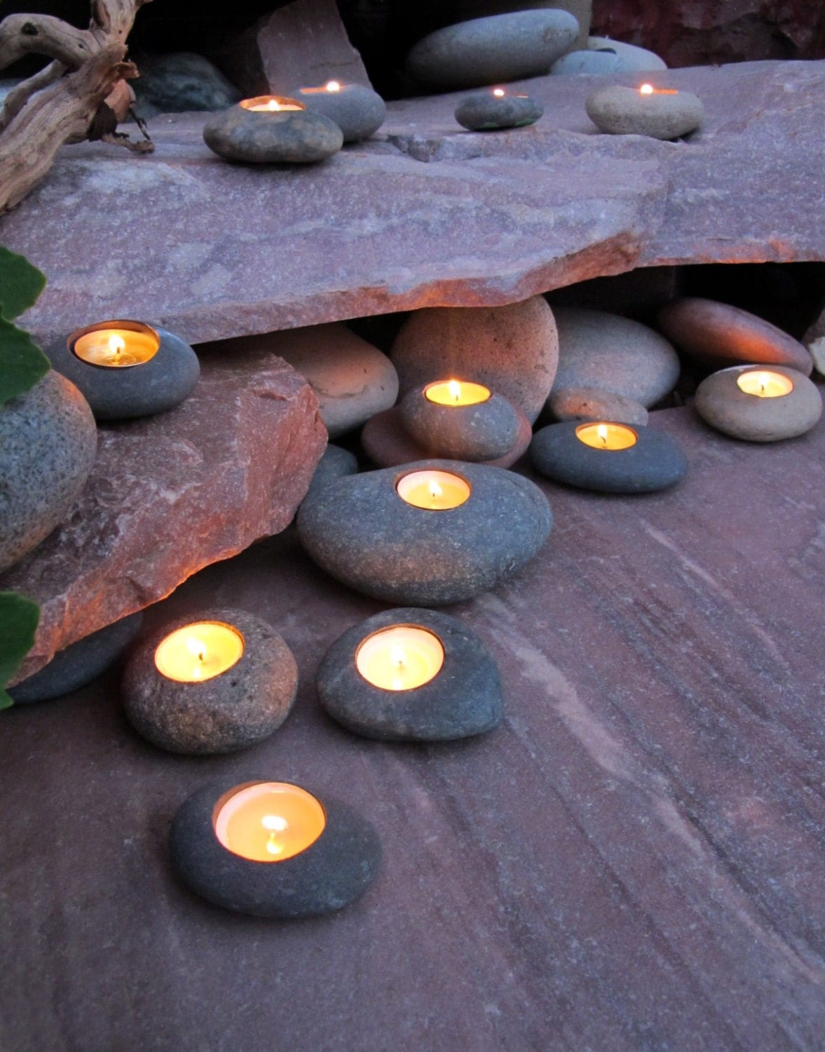 tealight rock candle holders set of 3