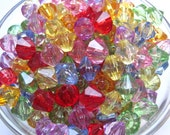 Bicone Beads, 10 pcs 14mm Mixed Lot Faceted Translucent Bead, Acrylic Bead, Plastic Bead, Necklace Spacer Bead