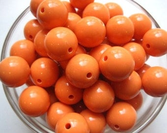 Gumball Beads, 10 Orange Sherbert Beads, 18mm, Bubblegum Bead, Plastic Bead, Necklace Bead, Round Bead