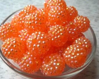 Orange Rhinestone Bead, 8 pcs, 20mm Orange AB Bumpy Chunky Necklace Bead, Disco Ball Bead, Gumball Beads, Bubblegum Bead, Acrylic Bead